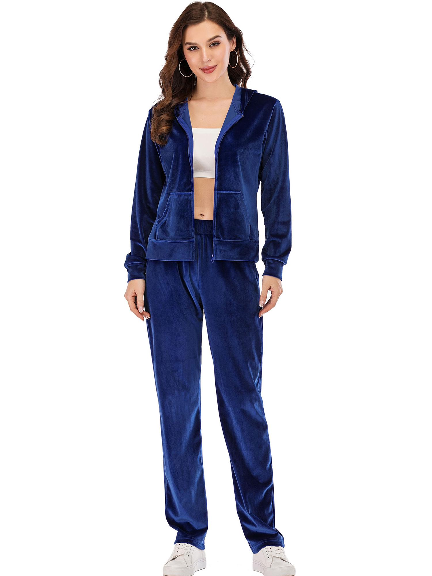 Womens Velvet Sweatsuit Set 2 Piece Pullover and Drawstring Sweatpants Sport Outfits Sleepwear Pajama Set