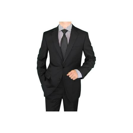 Salvatore Exte Men's Suit Two Button Side Vent Jacket Flat Front Pants Black