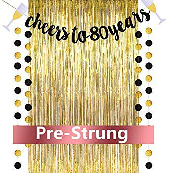 Cheers to 80 Years Banner, 80th Birthday Decorations for Women and Men, Gold Glitter Banner with Free 3.2 ft x 9.8 ft Metallic Tinsel Foil Fringe Curtains, Best Choice for Birthday Party (Best Choice Windows And Doors Reviews)