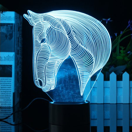 3D Acrylic LED Night Light Horse Head Desk Table Lamp 7 Color Change Bedroom Home Decor Christmas Gifts