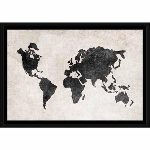 Black And White World Map Framed.Distressed Vintage Travel Old World Map Linen Texture Black White