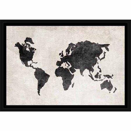 Black And White World Map Framed.Distressed Vintage Travel Old World Map Linen Texture Black White
