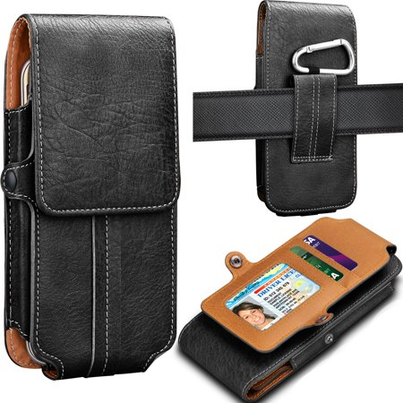 Tekcoo Phone Holster for Galaxy S9 / S9 Plus / S10 / S10 Plus / S10e / S8 / S8 Plus / S7 / S7 Edge / Note 9 Premium Leather Belt Clip Pouch Carrying Wallet Case w/Card Holder Slots & Keychain