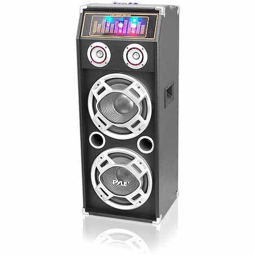 Pyle PSUFM1035A 1000W Disco Jam Powered 2-Way Bluetooth Speaker System with Flashing DJ Lights, USB/SD Card Readers, FM Radio, 3.5mm AUX Input, Graphic EQ and USB Charge Port