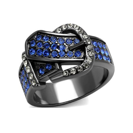 Royal Blue Multi Color Crystal IP Light Black Stainless Steel Belt Buckle Ring - Size 5