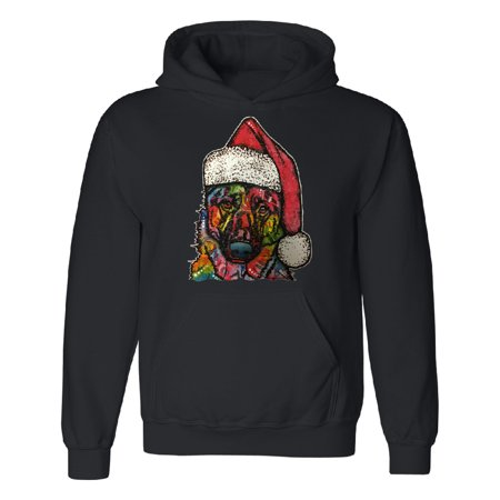 Colored Dog With Santa Hat Funny Ugly Sweater Unisex Hoodie Black Small