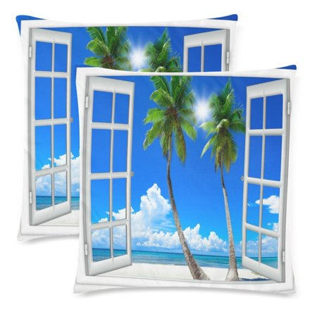 YKCG Sea Beach Decor with Palm Tree Pillowcase 18x18 Cushion Case Cover Twin Sides, Summer Sunny Say Window View Zippered Throw Pillow Case Cover Decorative for Couch Bed, Set of 2 ()