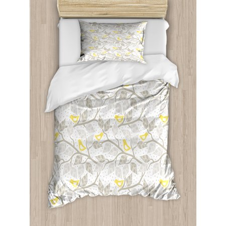 Grey and Yellow Duvet Cover Set, Abstract Tree Branches with Leaves Birds and Dots Spring Nature, Decorative Bedding Set with Pillow Shams, Grey Yellow White, by Ambesonne ()