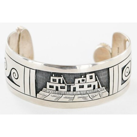 Rare Handmade $2000 Retail Tag Pueblo Wave Authentic Made by Aleric Hopi .925 Sterling Silver and Turquoise Native American (Waves Npp Native Power Pack)