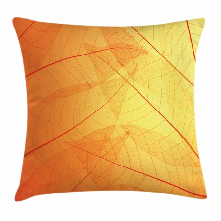 Orange Throw Pillow Cushion Cover, Autumn Nature Fall Season Themed Dried Leaves Skeleton Vivid Veins Close Up, Decorative Square Accent Pillow Case, 16 X 16 Inches, Red Orange Mustard, by Ambesonne (autumn themed plastic wall covers)