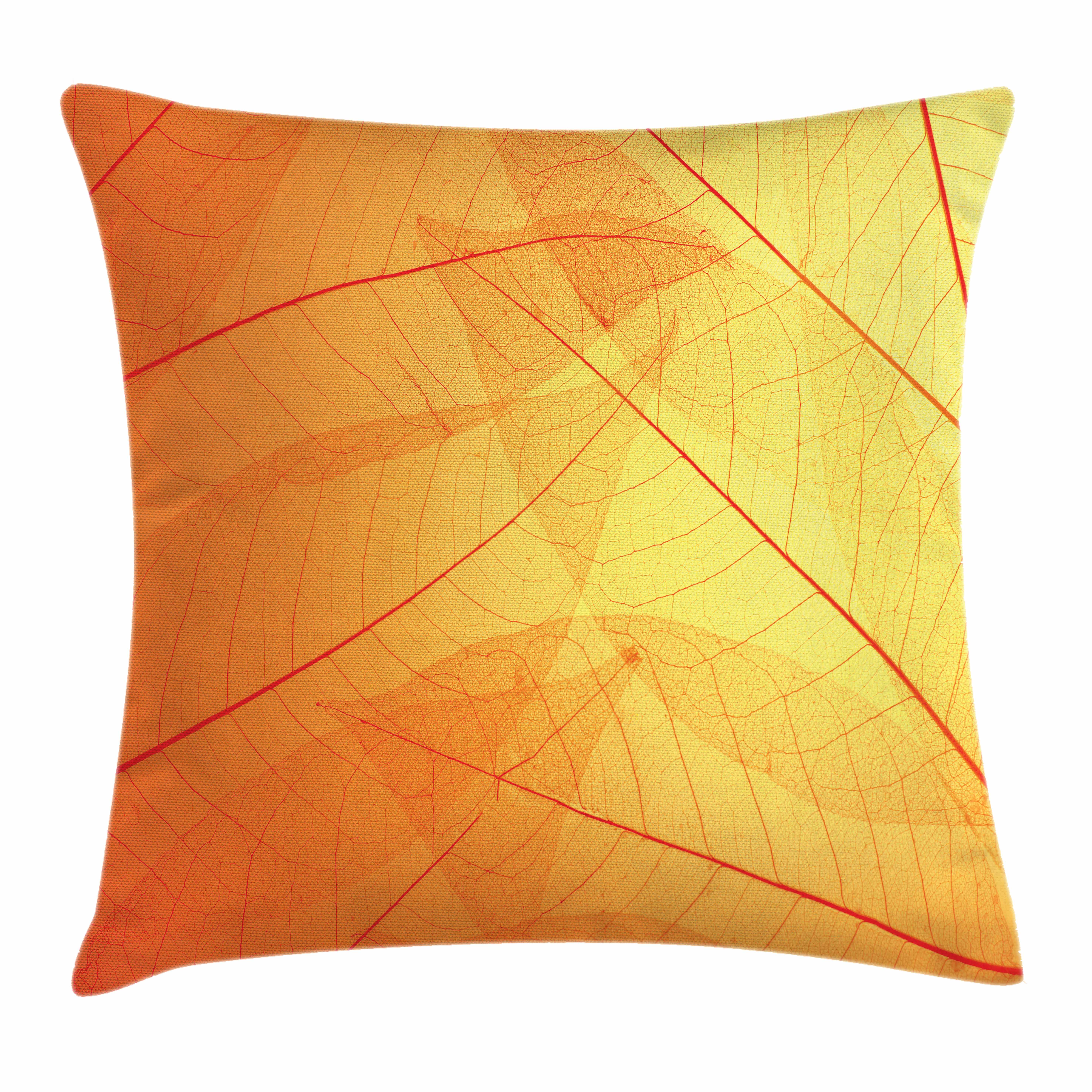 Orange Throw Pillow Cushion Cover, Autumn Nature Fall Season Themed Dried Leaves Skeleton Vivid Veins Close Up, Decorative Square Accent Pillow Case, 16 X 16 Inches, Red Orange Mustard, by Ambesonne