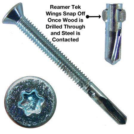 12X2 1 2  Reamer Tek Torx Star Head Self Drilling Wood To Metal Screws   1 Pound   55 Tek Screws    Tek Screws For Flatbeds  Trailers  Or Where Fastening Wood To Steel   T 25 Torx Screw Head