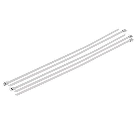 5pcs 8mm Wide 500mm Long L Type Buckle Stainless Steel Cable Tie Silver Tone - image 3 de 3