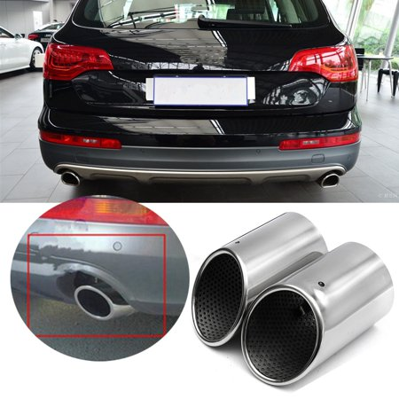 2X CHROME STAINLESS STEEL EXHAUST TAIL REAR MUFFLER TIP PIPE for