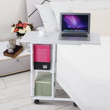 Dilwe Overbed Table on Wheels Height Adjustable Over Bed Table for Hospital and Home Use