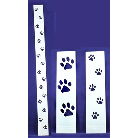 Corner Border Quilt Stencil - Dog Paw Tracks 3 Piece Border Stencil Set