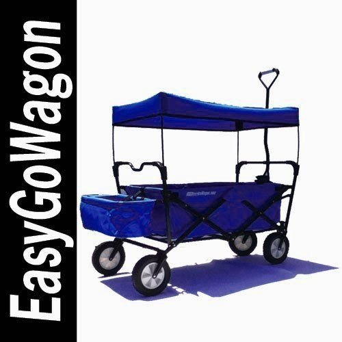 EasyGo Wagon Folding Collapsible Utility Wagon with Removable Canopy - Blue