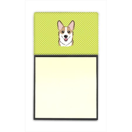 Checkerboard Lime Green Corgi Refiillable Sticky Note Holder Or Postit Note Dispenser, 3 x 3 In. - image 1 of 1