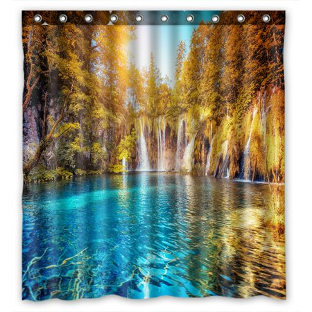 PHFZK Mountain & Lake Shower Curtain, Turquoise Water and Sunny Beams in National Park Croatia Landscape Polyester Fabric Bathroom Shower Curtain 66x72 inches ()