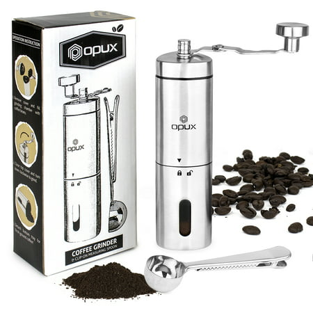 Coffee Grinder Manual | Hand Grinder Coffee Mill | Portable Travel Conical Ceramic Burr Bean Grinder | Adjustable Coarseness, Hand Crank Stainless Steel Mill for Precision (Best Manual Coffee Mill)