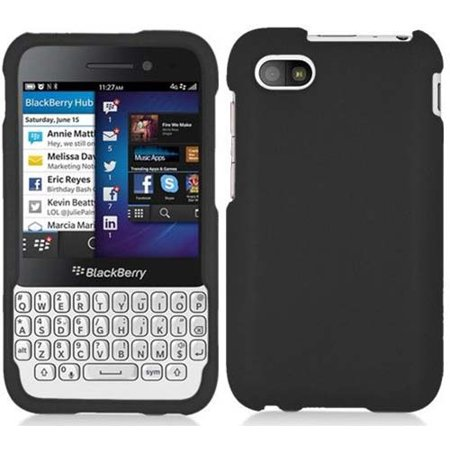 BLACK RUBBERIZED HARD SHELL CASE COVER FOR BLACKBERRY Q5
