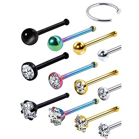 BodyJ4You 14PC Nose Hoop Rings 20G Stainless Steel Multi Color Nose Pin Bone Studs Piercing Jewelry (0.8mm) (Bone Flowers Nose Bone)