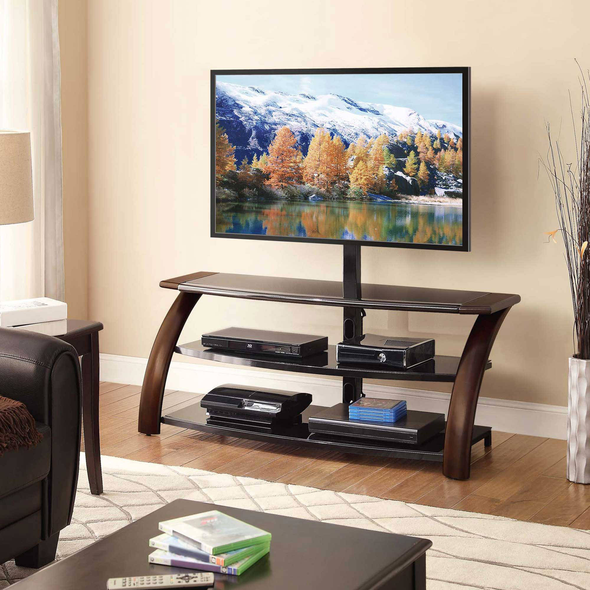 "Malibu Dark Brown 54"" 3-in-1 TV Console for TVs up to 65"""