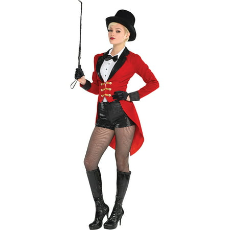 Suit Yourself Circus Ringmaster Costume for Adults, Includes a Bodysuit, a Red Jacket, and a Black Top