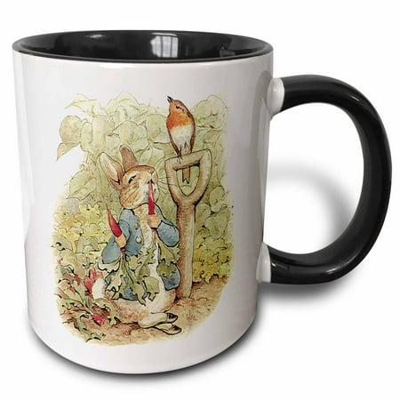 3dRose Peter Rabbit in the Garden - Vintage Art - Two Tone Black Mug, 15-ounce