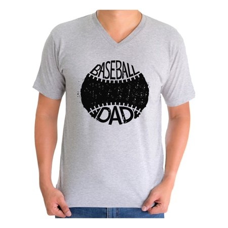 Baseball Homecoming Ideas (Awkward Styles Men's Baseball Dad Sport Lover`s Graphic V-neck T-shirt Tops Black Father's Day Gift)