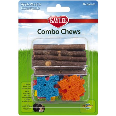 Combo Chews, Apple Wood and Crispy Puzzle, 16 Pieces, Helps reduce boredom in small animals and provide your pet with hours of playtime fun By Kaytee
