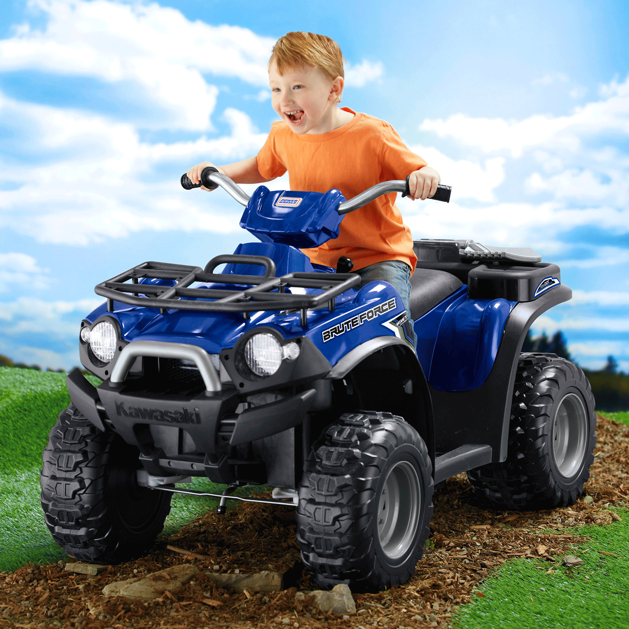 Fisher Price Power Wheels Kawasaki Brute Force ATV Battery Powered Riding Toy by Mattel