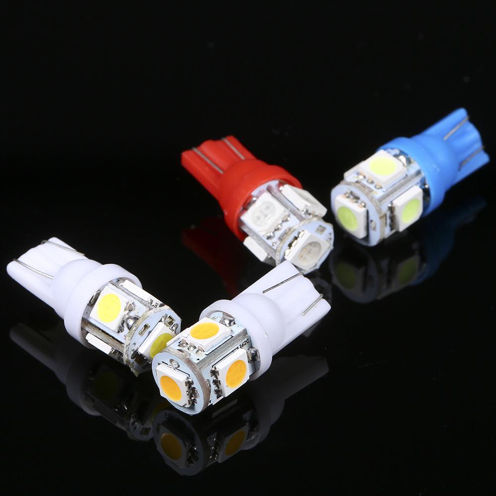DC12V 1W 5 LED Car Light Bulb 10 Pack T10 Base Socket Holder Blue Light for C9W7