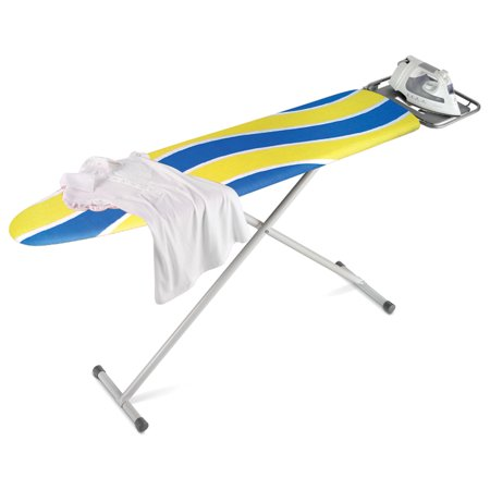 Honey Can Do Ironing Board with 2-Leg Stand and Iron Rest, Blue/Yellow