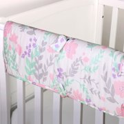The Peanut Shell Baby Crib Rail Guard - Pink and Mint Green Floral Print - 100% Cotton Sateen Cover, Polyester Fill