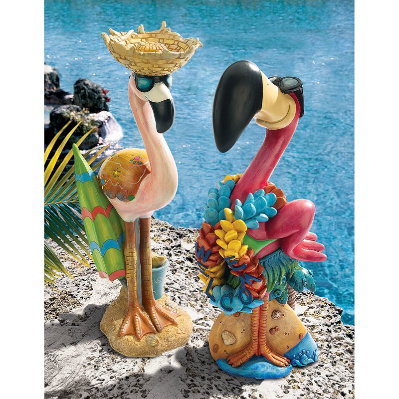 Luau Larry & Flamingo Frank Pink Flamingo Garden Statue Set by Design Toscano