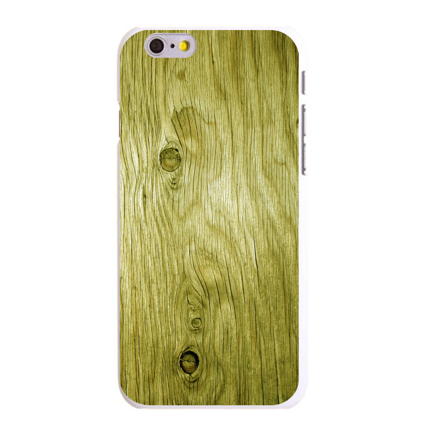 """CUSTOM White Hard Plastic Snap-On Case for Apple iPhone 6 PLUS / 6S PLUS (5.5"""" Screen) - Yellow Weathered Wood Grain"""