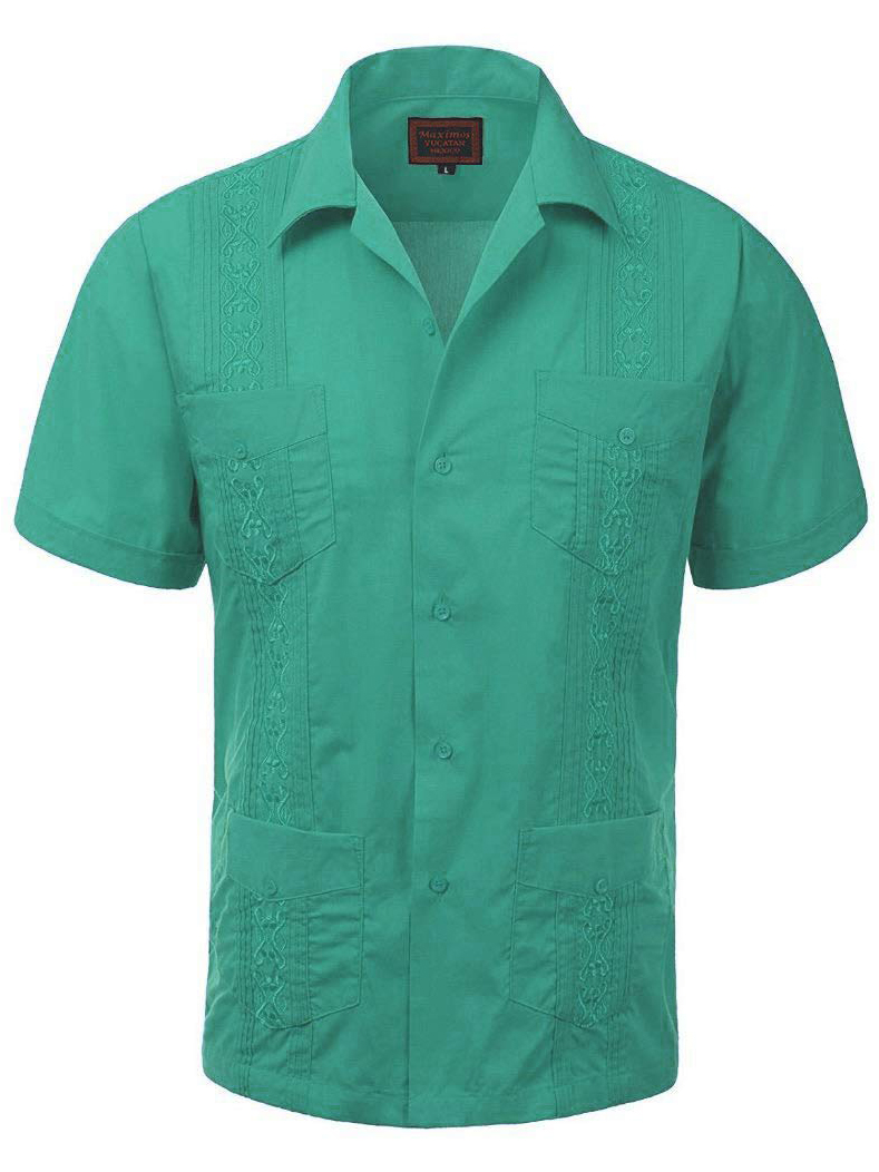 Maximos Mens Guayabera Embroidered Cuban Beach Wedding Short