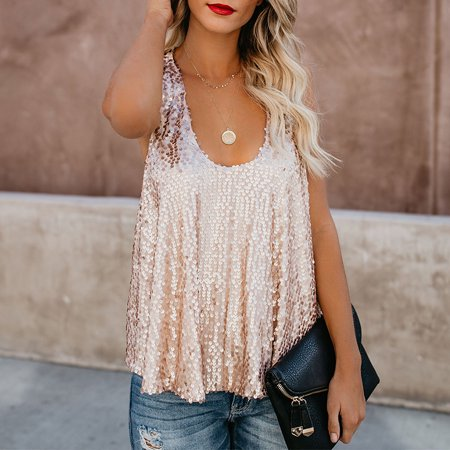 Womens Sparkle Fashion Sequin Embellished Tank Top Sleeveless Round Neck Blouse