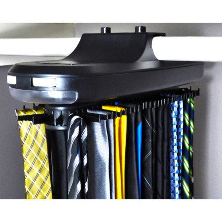 Electric Revolving Tie Rack w/ LED Light - Holds 64 Ties, Belts, Scarfs & More - Motorized Rotating Closet Tie Rack (Best Motorized Tie Rack)