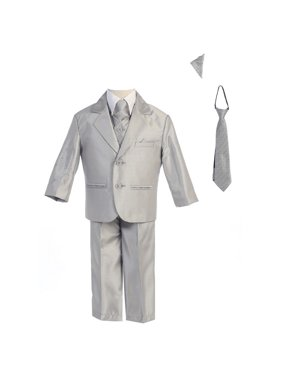 Boys Silver Two-button Metallic Special Occasion Suit 10