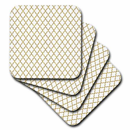 3dRose Gold Faux Glitter Quatrefoil Pattern on White- not real glitter - Soft Coasters, set of