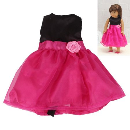 Clearance Handmade Rose Red Party Dress Skirt Clothes Gift Fits 18