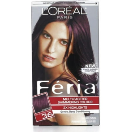 L Oreal Feria Multi Faceted Shimmering Colour Warmer 36 Deep Burgundy Brown