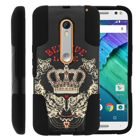 Motorola Moto X Style and Moto X Pure XT1575 STRIKE IMPACT Dual Layer Shock Absorbing Case with Built-In Kickstand - Believe in