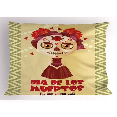 Pillowcase In Spanish Simple Day Of The Dead Pillow Sham Spanish Dia De Los Muertos Print Girl
