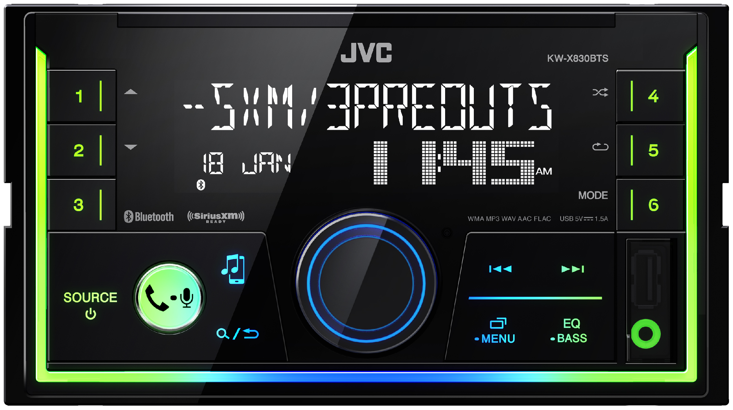 Jvc Kw Sx83bts In Dash Receiver Front Usb Apple And Android Pandora Pioneer Wiring Harness Diagram Compatible Aux Input Siriusxm Ready Does Not Play Cds