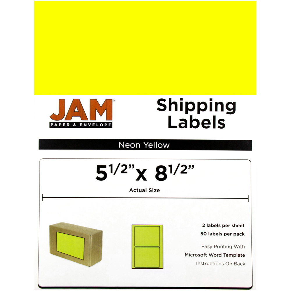 JAM Paper Shipping Labels, Half Sheet, 5 1/2 x 8 1/2, Neon Yellow, 50/pack