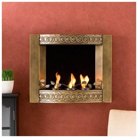 Wall Mount Gel Fuel Fireplace Antique Gold