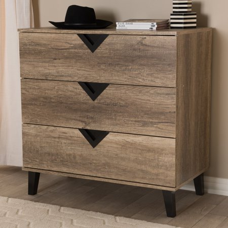 Baxton Studio Wales Contemporary Light Brown Wood 3-Drawer Chest